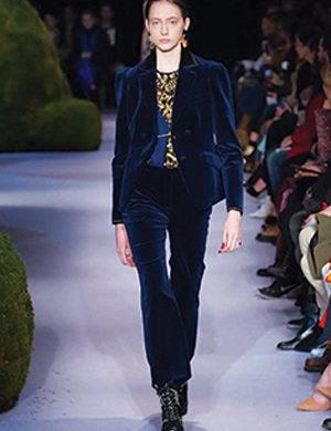 dark blue fashion show