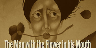 the man with flower in his mouth