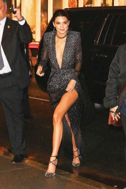 Kendall Jenner arrives at harper bazaars 150 anniversary event