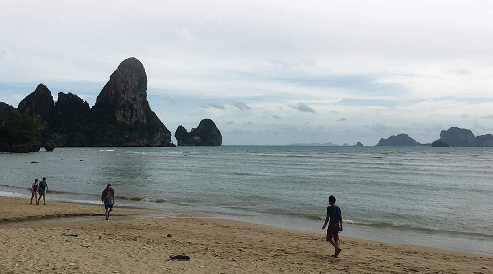 walking in the seashore in Krabi Beach