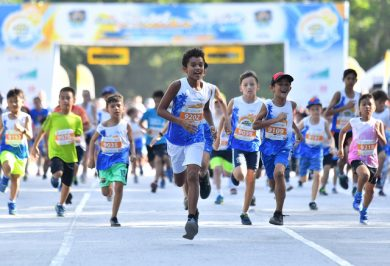 Children Participate in a goo cause marathon