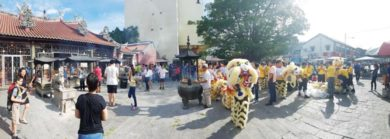 Dragon dance in Penang they celebrate their culture