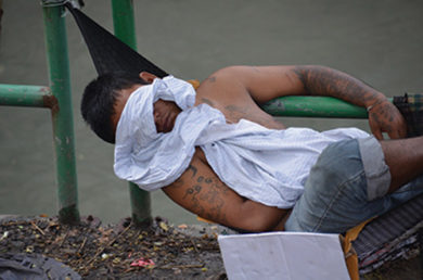 man rest in a park