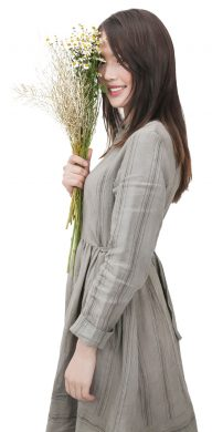 Lady holding flowers
