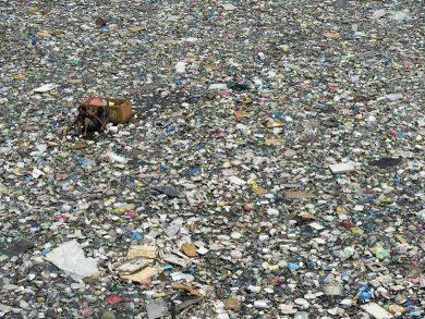 plastic on ocean