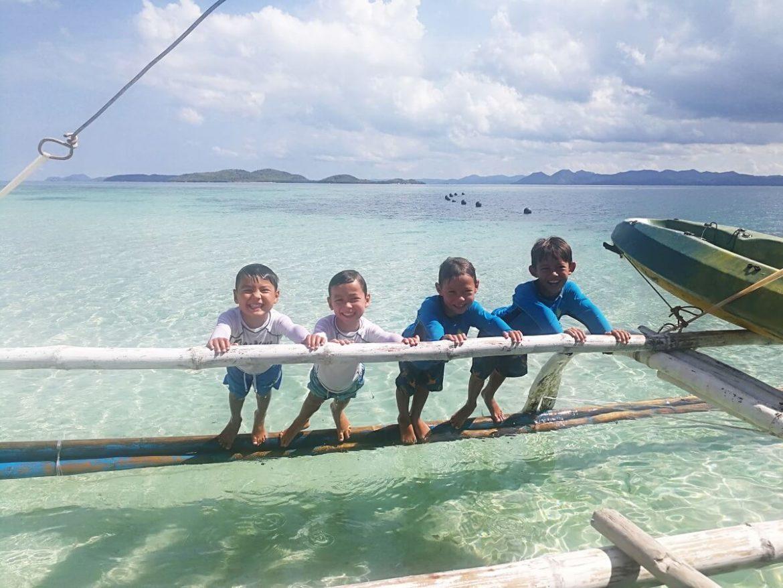 Four Children in the sea