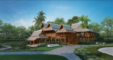 Thai stilts house as school building.